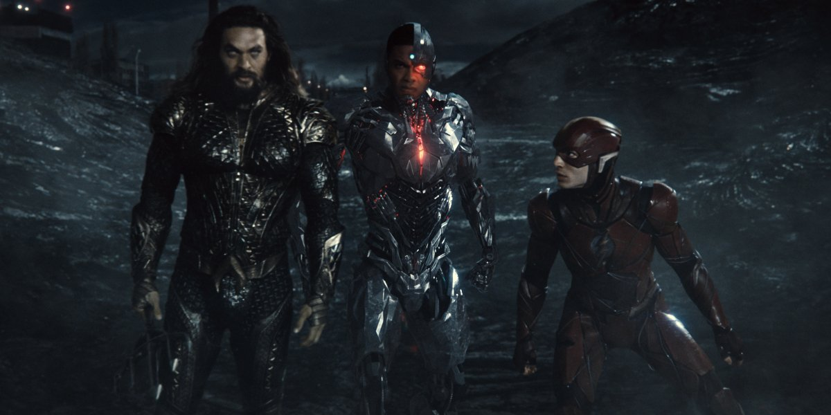Aquaman, Cyborg, and The Flash stand on the battlefield in Zack Snyder's Justice League