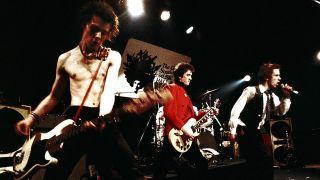 Sid Vicious, Steve Jones, and Johnny Rotten performing in Atlanta, Georgia in 1978