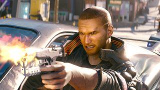 Cyberpunk 2077 hero V hangs out of a car while firing a handgun (angrily).
