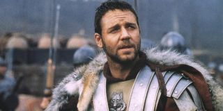 Gladiator Russell Crowe in fur and armor on the battlefield