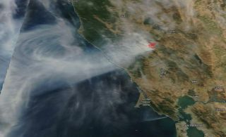 NASA's Terra satellite captured an image of the Kincade Fire in California on Oct. 24, 2019.