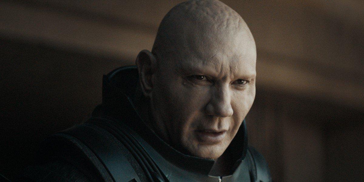 Dave Bautista as Glossu Rabban plotting against his enemies in Dune