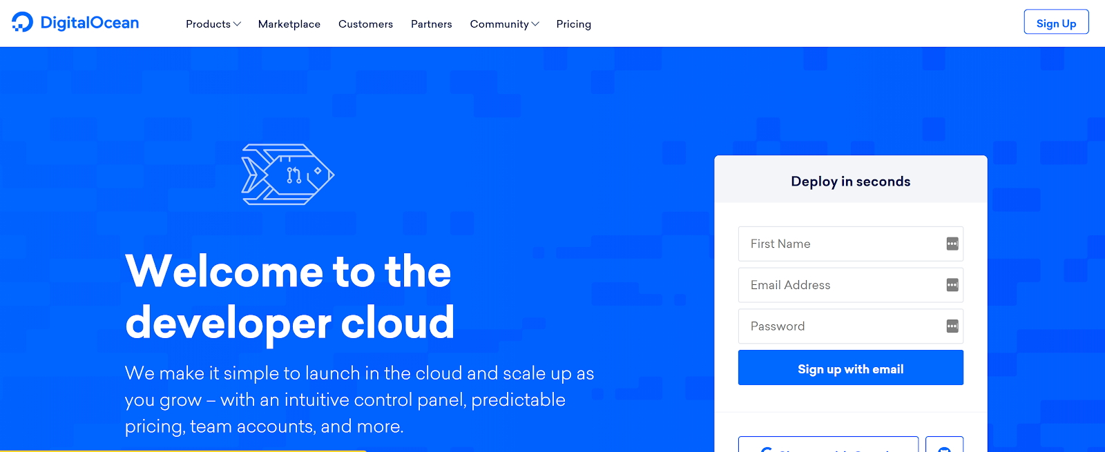 DigitalOcean's website