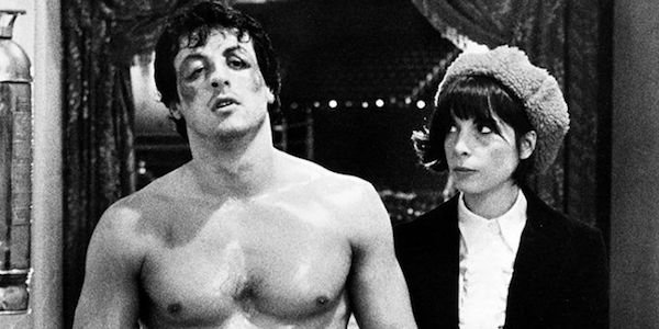 Sylvester Stallone and Talia Shire in an early Rocky movie