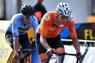 Mathieu van der Poel and Wout van Aert in the elite men's road race at the 2021 World Championships