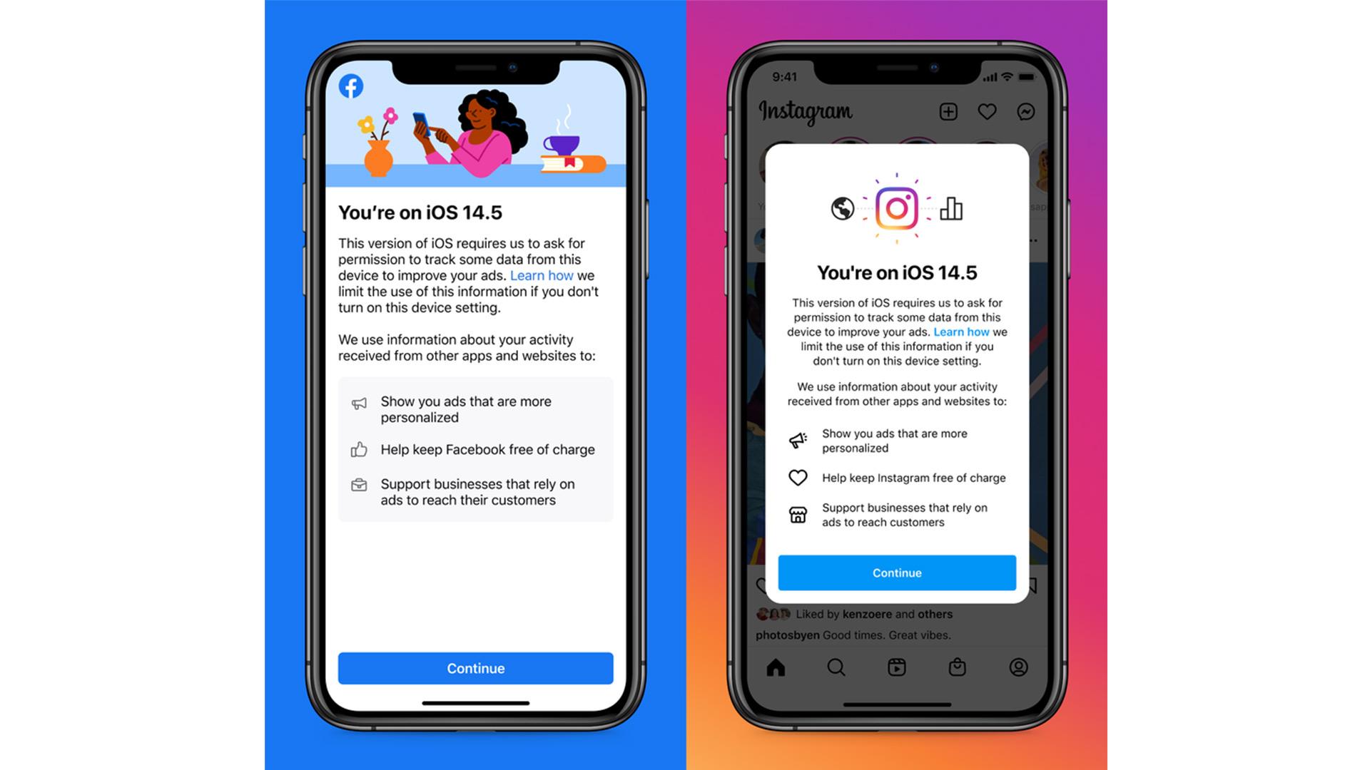 Facebook and Instagram's iOS 14.5 prompt