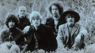 Spirit (L-R Randy California, Ed Cassidy, Mark Andes, John Locke and Jay Ferguson) pose for an Ode records publicity shot, 1968