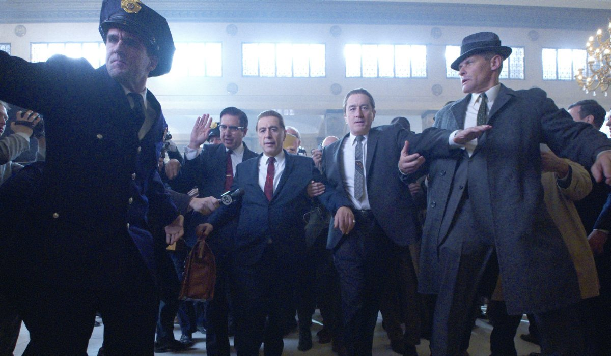 The Irishman Ray Romano, Al Pacino, and Robert DeNiro being escorted out of a courtroom