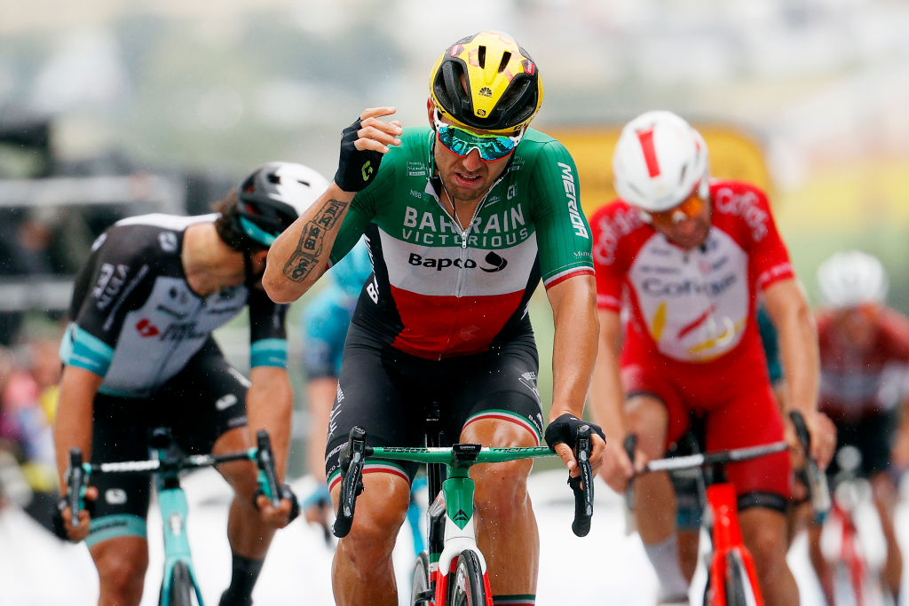 SAINTGAUDENS FRANCE JULY 13 Sonny Colbrelli of Italy and Team Bahrain Victorious 2nd place at arrival during the 108th Tour de France 2021 Stage 16 a 169km stage from Pas de la Casa to SaintGaudens LeTour TDF2021 on July 13 2021 in SaintGaudens France Photo by Chris GraythenGetty Images