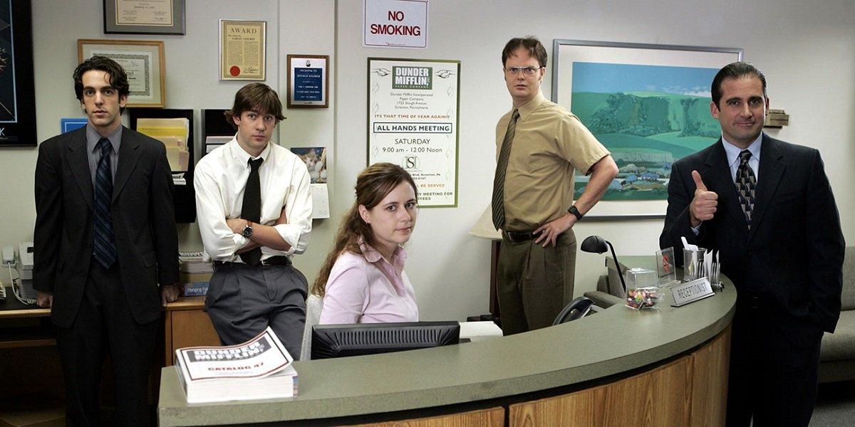 Steve Carell, Jenna Fischer, John Krasinski, B.J Novak, and Rainn Wilson in The Office