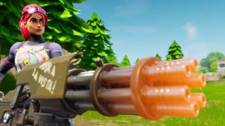 A Fortnite character holding a superheated minigun.