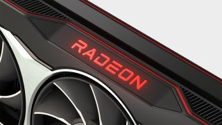 AMD RX 6800 close-up on Radeon logo