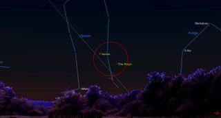 June 2021 starry night Young moon meets Venus