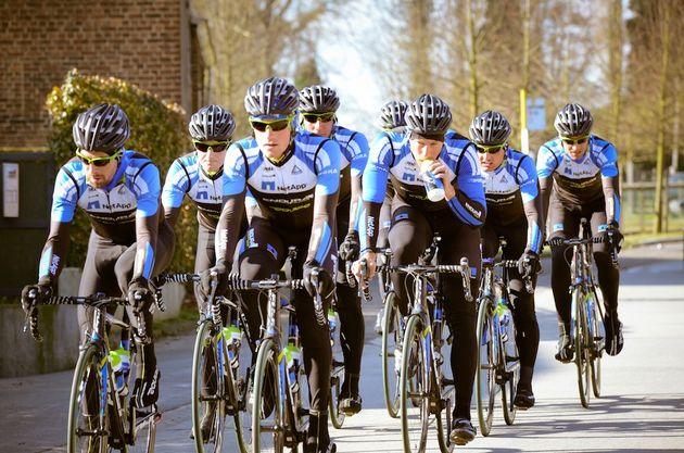 Team NetApp-Endura recce Omloop Het Nieuwsblad 2013