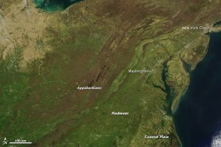 NASA's Aqua satellite captured this view of spring greening on April 7, 2012, an unusually cloud free day.