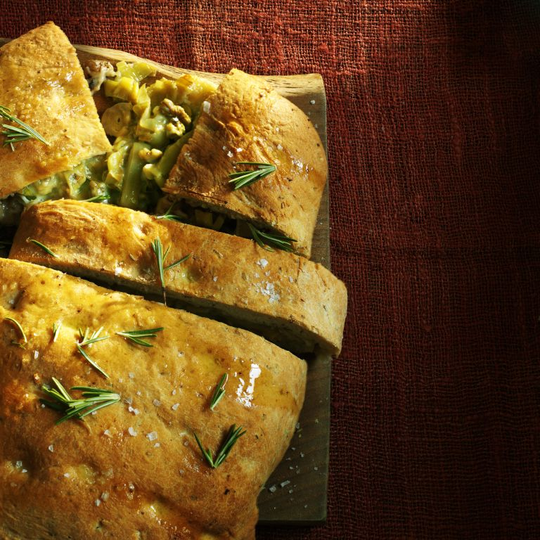 Stuffed garlic and rosemary focaccia