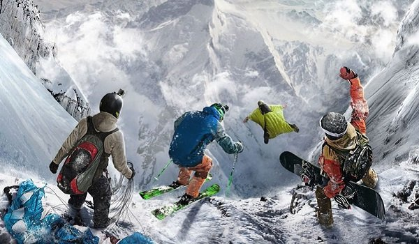 Extreme sports on a mountain in Steep
