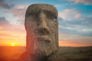 Towering statues called moai are scattered across Chile's Easter Island.