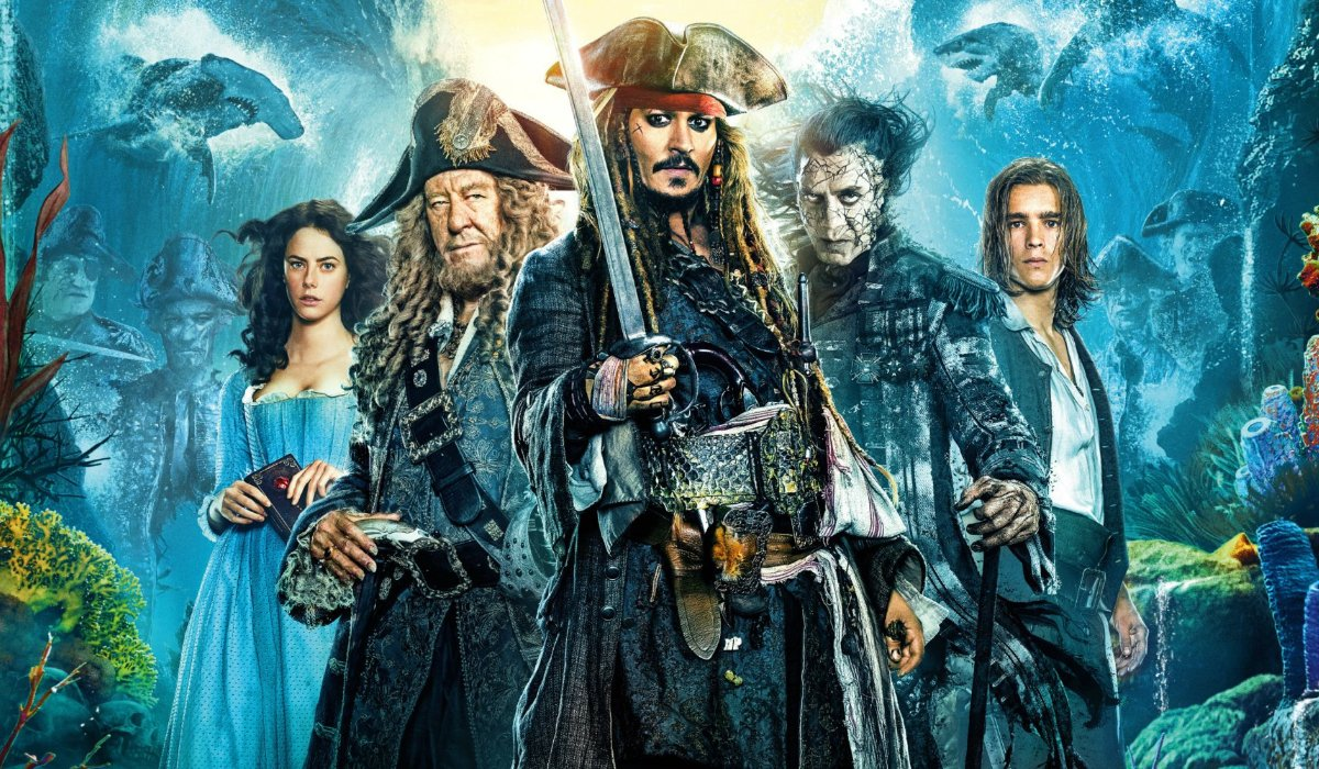Pirates of the Caribbean: Dead Men Tell No Tales main character lineup in front of a parted sea