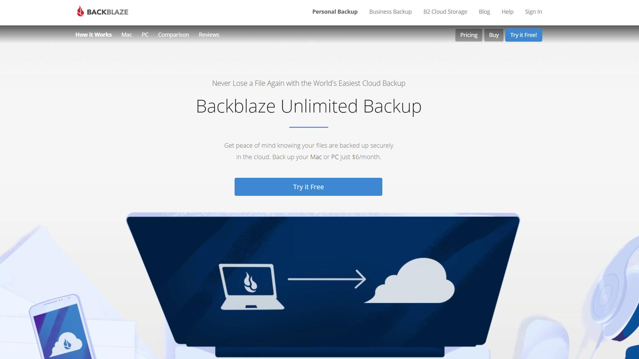 Backblaze website