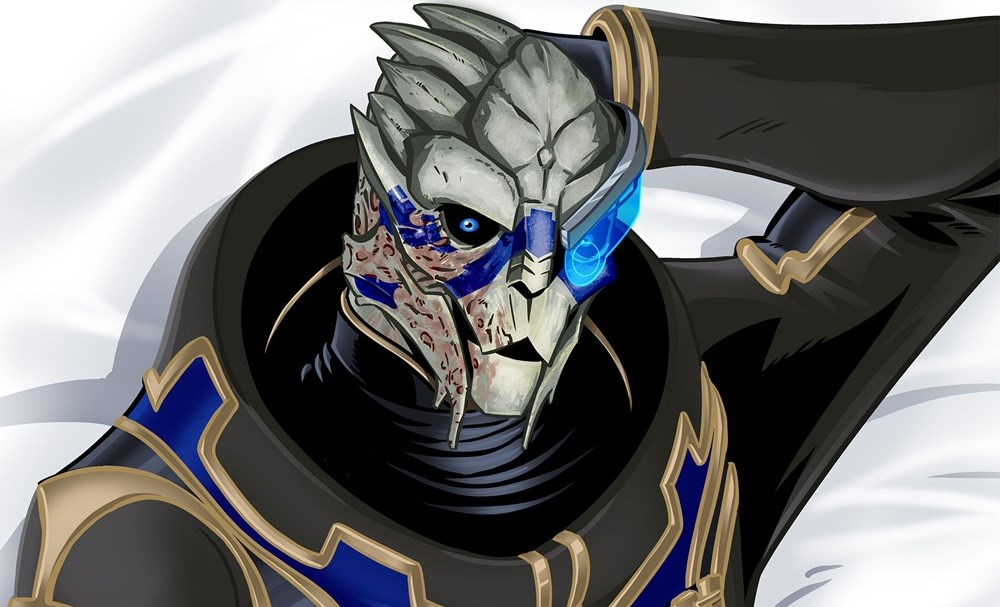 The face of Garrus from Mass Effect printed on a body pillow.