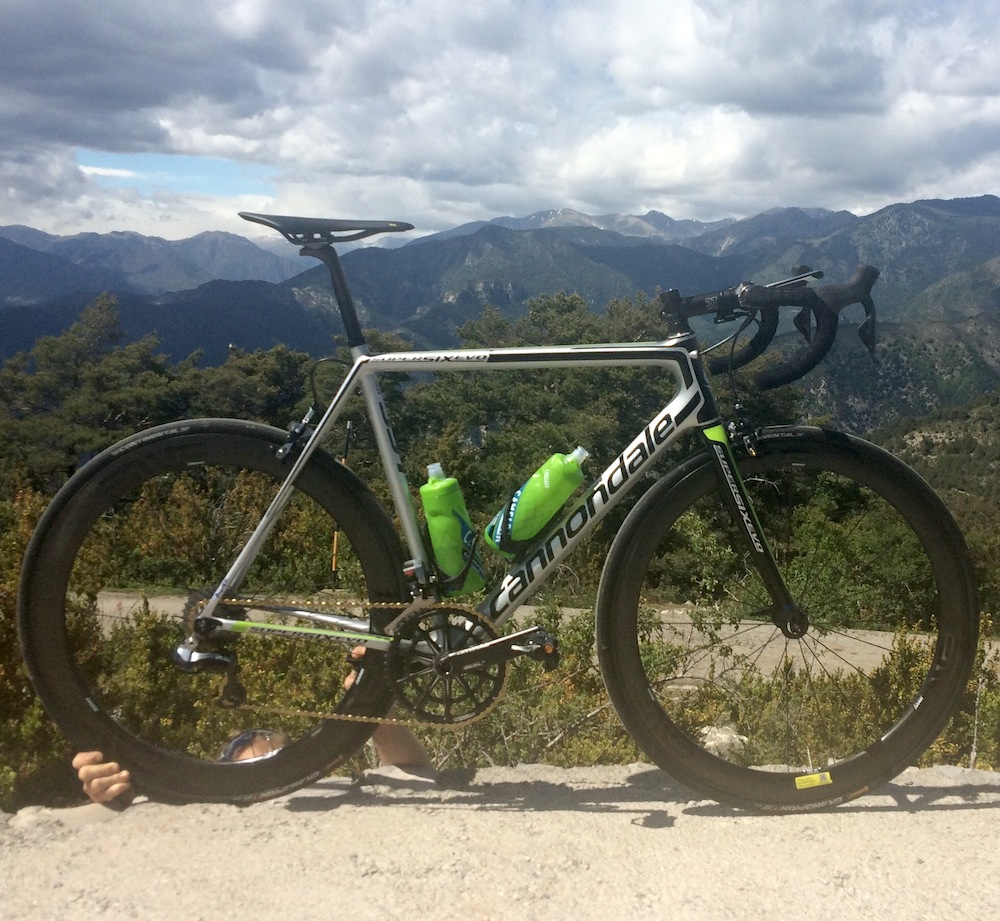 The Enve SES 4.5 on wheel atop the Col de la Madone Utelle climb. The wheels climb well.
