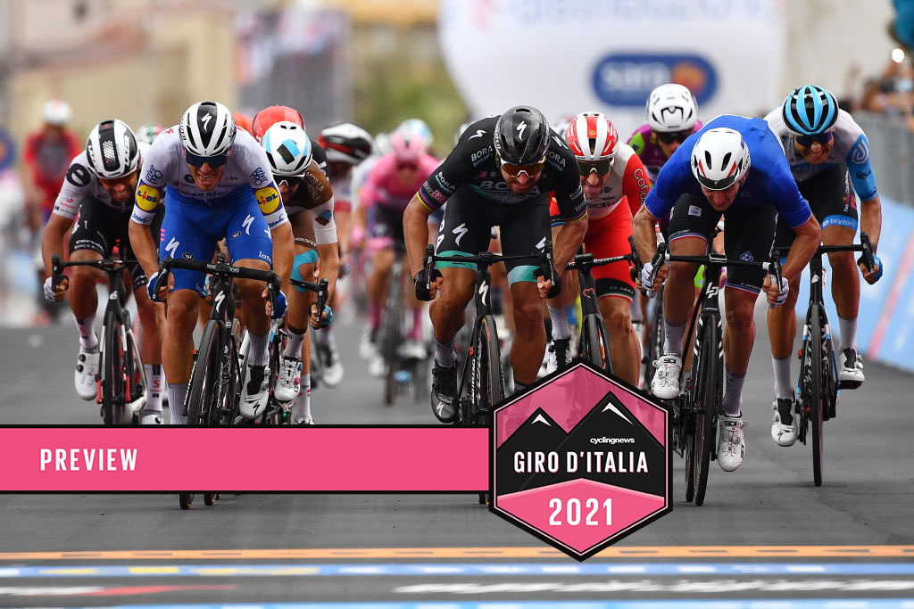VILLAFRANCA TIRRENA, ITALY - OCTOBER 06: Arrival / Sprint / Michael Matthews of Australia and Team Sunweb / Davide Ballerini of Italy and Team Deceuninck - Quick-Step / Andrea Vendrame of Italy and Team Ag2R La Mondiale / Peter Sagan of Slovakia and Team Bora - Hansgrohe / Elia Viviani of Italy and Team Cofidis Solutions Credits / Arnaud Demare of France and Team Groupama - FDJ / Davide Cimolai of Italy and Team Israel Start-Up Nation / during the 103rd Giro d'Italia 2020, Stage 4 a 140km stage from Catania to Villafranca Tirrena / @girodiitalia / #Giro / on October 06, 2020 in Villafranca Tirrena, Italy. (Photo by Stuart Franklin/Getty Images,)