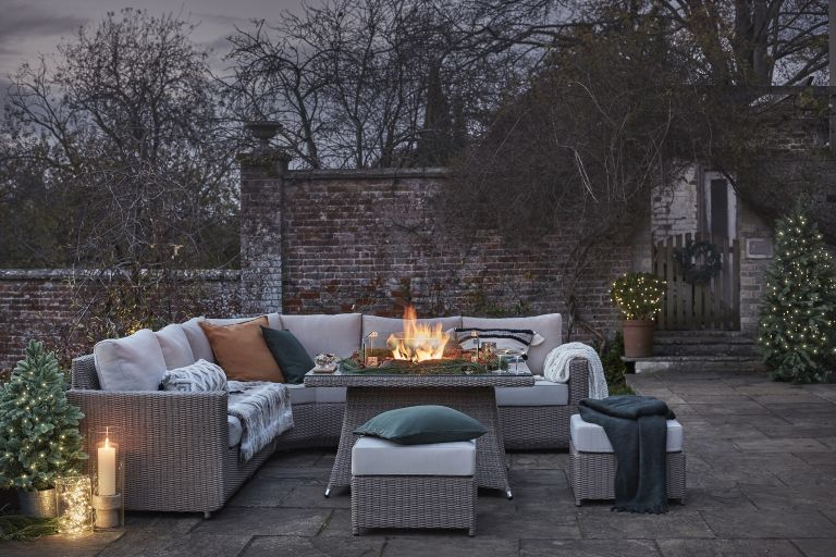 Winter outdoor space, such as this one by Moda Furnishings, transformed for winter