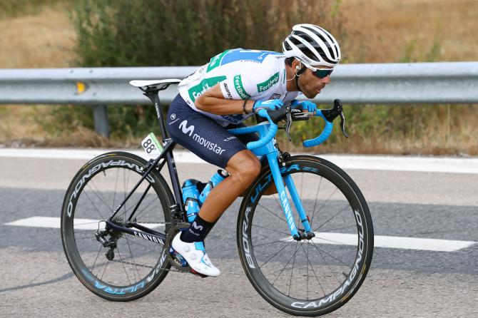 Alejandro Valverde tucks on a descent during stage 11 at the Vuelta