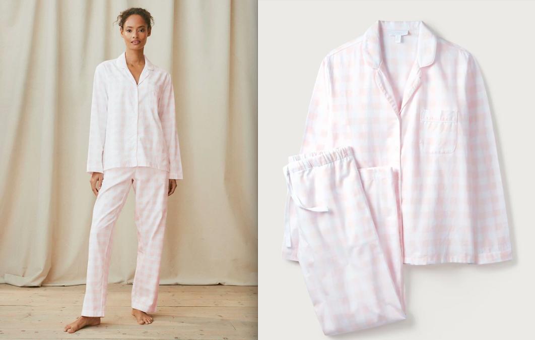 Brushed-Cotton Gingham Pyjama Set