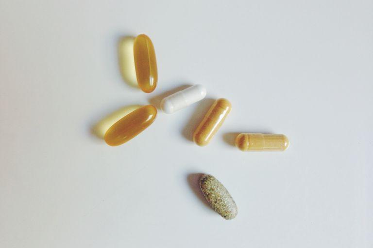 product flatlay shot of biotin vitamin supplements