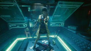 Cyberpunk's V dancing in a bar