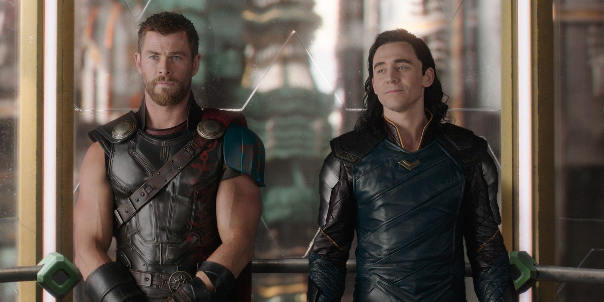 Thor (Chris Hemsworth) and Loki (Tom Hiddleston) wait in an elevator in Thor: Ragnarok (2017)