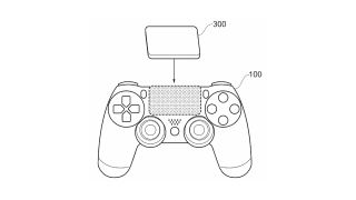 An image from the Sony patent showing the tactile pad above the standard DualShock 4 touchpad.
