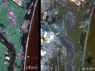 Japan coastline before and after