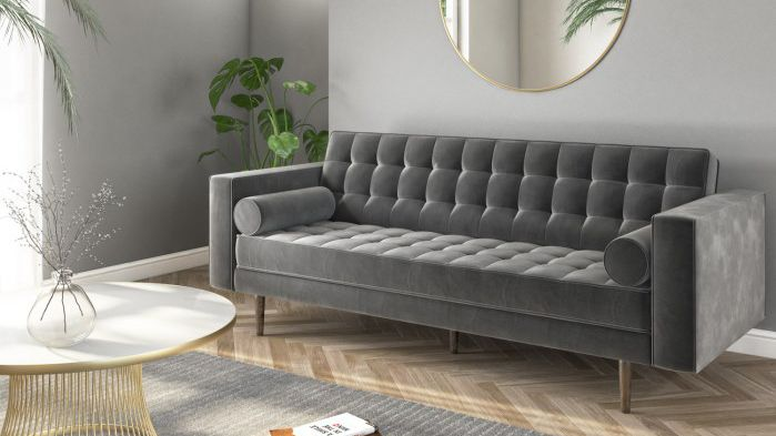 sofa deal: Elba Grey Velvet Sofa with Button Detailing & Bolster Cushions - Seats 3