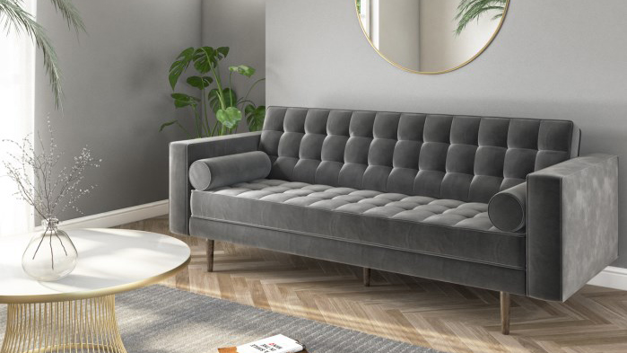 This gorgeous grey velvet sofa has £80 off right now | Real ...