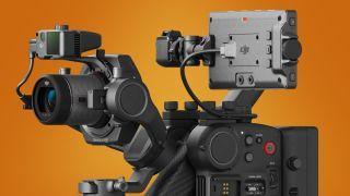 The DJI Ronin 4D cinema camera on an orange background