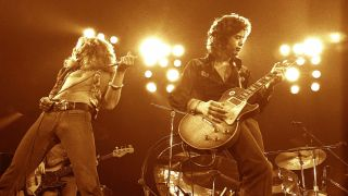 Robert Plant and Jimmy Page performing live onstage with Led Zeppelin