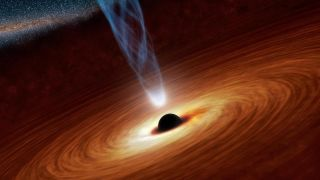 An artist's depiction of a supermassive black hole.