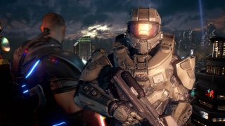 A photo illustration showing Master Chief and the protagonist of Crackdown 3.
