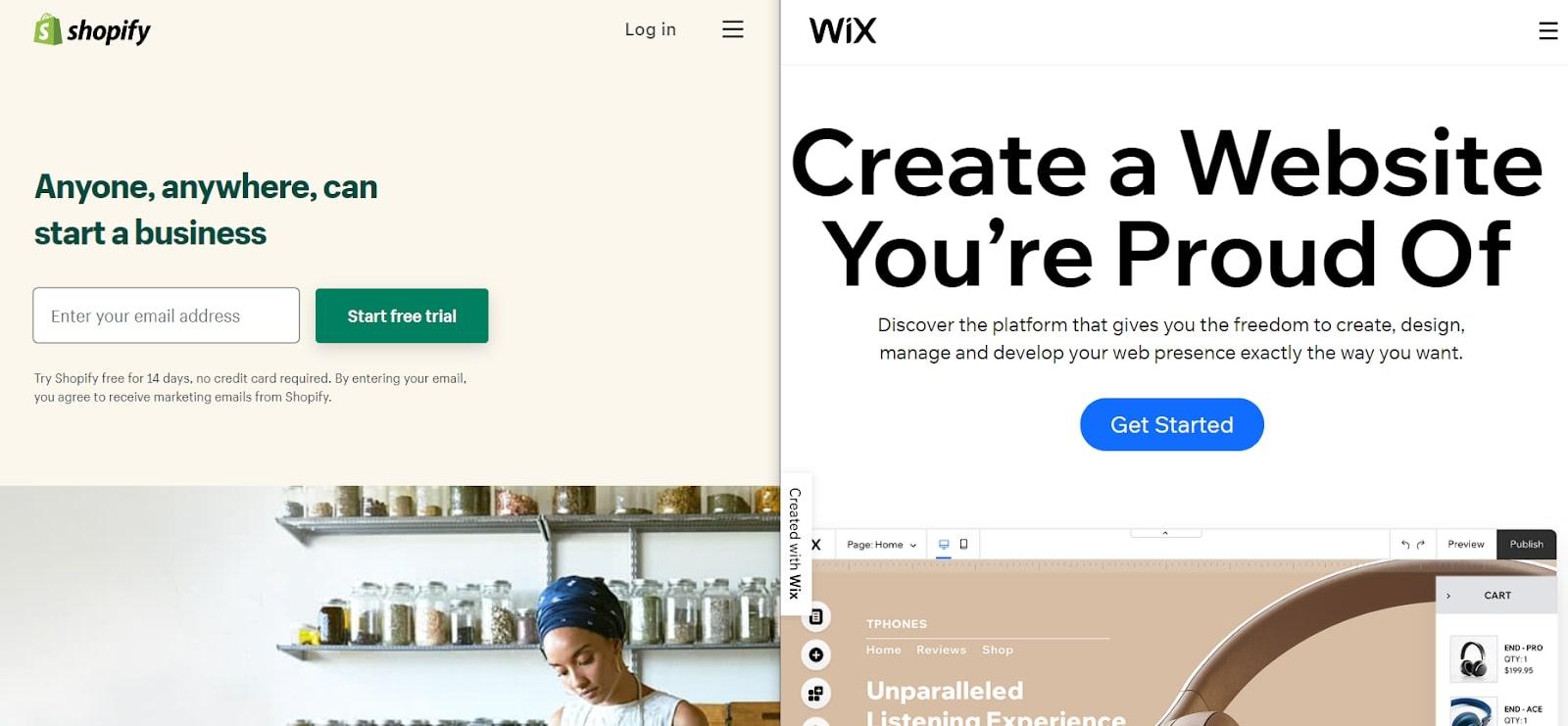 Wix contre Shopify