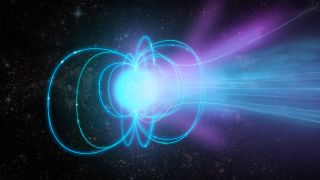 A magnetar is a superdense neutron star with an extremely strong magnetic field. In this illustration, the magnetar is emitting a burst of radiation.