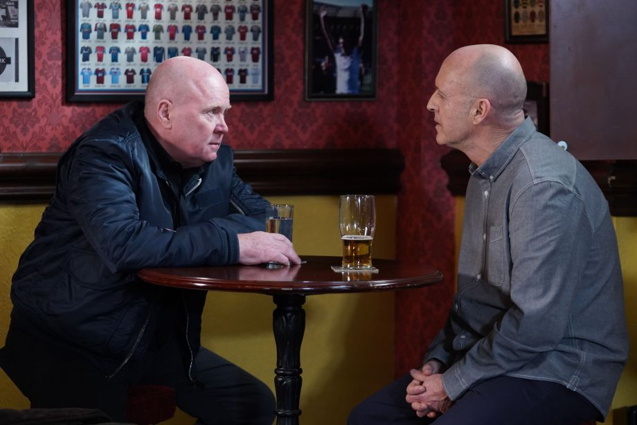 Phil Mitchell and Danny Hardcastle discuss a deal in EastEnders.