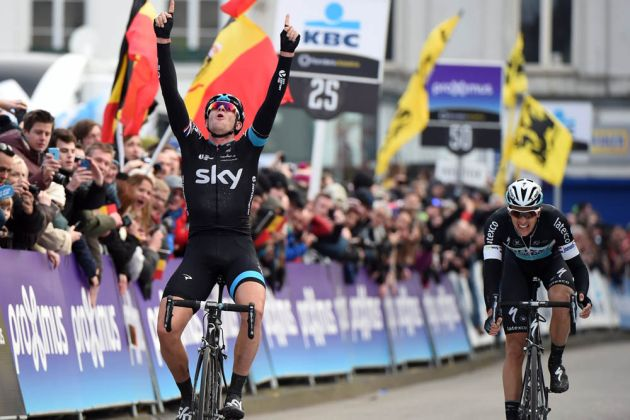 Photo: Three against one and it was a foregone conclusion, surely? Ian Stannard had other ideas when he won Omloop Het Nieuwsblad on Saturday .