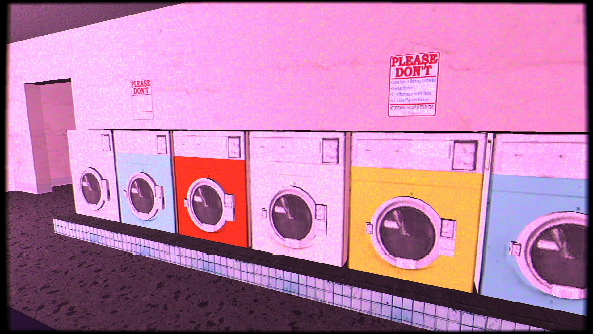A row of washing machines in a laundromat