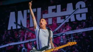 Chris#2 of Anti-Flag performs during the Southside festival on June 24, 2016 in Neuhausen, Germany