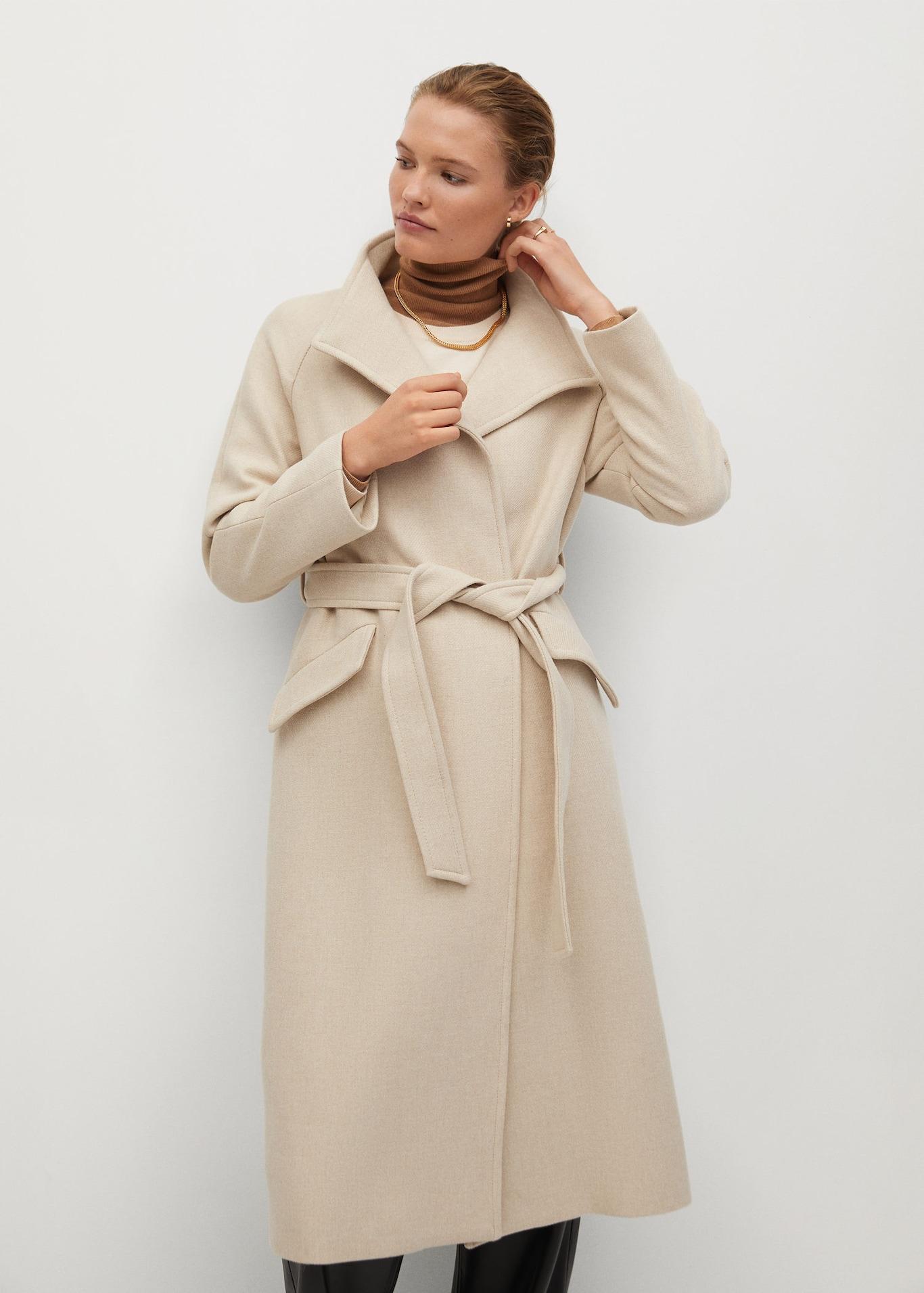 Mango, belted coats, neutral coat, ecru coat