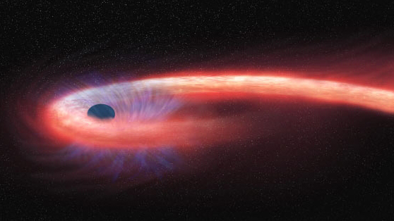 A black hole tears down a star, leaving a long string of star material, which then wraps itself around the black hole.