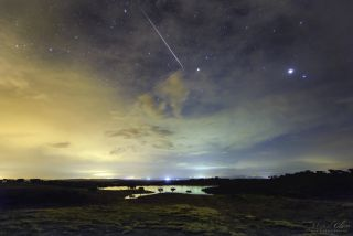 Jupiter and meteor over Alandroal, Portugal